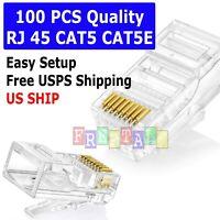 100pcs RJ45 Modular Plug Network Cable LAN Connector Plug End 8P8C CAT5 CAT5E