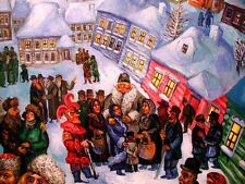 WINTER IN OLD RUSSIAN JEWISH SHTETL TOWN Painting by Noted Artist ARI ROUSSIMOFF