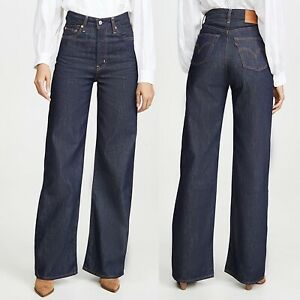 Levis Premium Ribcage Wide Leg High Rise Jeans High And Mighty Wash Womens 24x32