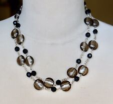 Lovely M&S Smoky Grey Foil Grass Bead Necklace