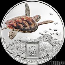 2016 Tanzania - GREEN SEA TURTLE - Silver Plated COPPER Coin W/ Color WWF Africa