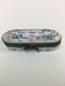 "Limoges White Blue Pink ""First Haircut"" Box"