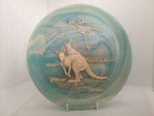 More details for vintage marlestone handcrafted blue marble wall plate kangaroo design