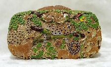 Gold Multi-Color ~Handmade Crystal Zoo Forest Jungle animals Evening clutch bag