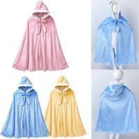 Kids Cape Faux Fur Cloak Soft Warm Hooded Pleuche Fancy Dress Costume Halloween