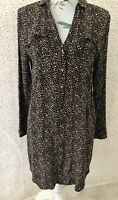 Lollys Laundry Size S Brown Mix Pattern Tunic Dress Top Pockets