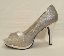 Women's RAMPAGE Gracee Silver Sparkle Shimmer Open Toe Heels Pumps 9.5 M  GUC!!