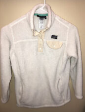 PATAGONIA Girls Off White Cream T-Snap Fleece Pullover Medium 10 *stains*