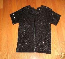 AFTER 5 Elegant Black shimmery Blazer w/front zipper After 5 wear.  Size Medium.