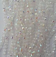 100 Crystal AB Czech Fire Polish Beads crafts 3!mm-(0003)-TINY BEADS!