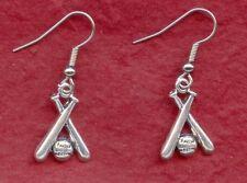 Softball Earrings new great gift baseball bats and ball jewellery drop dangle