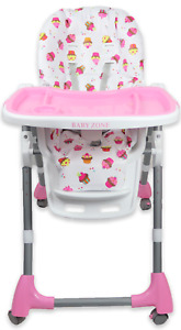 Adjustable Baby Highchair with 4 Wheels from 6 Months Foldable Removable Tray