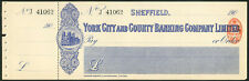 More details for york city and county banking co. ltd., sheffield, 190[8], unused cheque