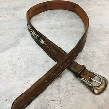 Tony Lama Made in the USA Leather Woven Belt Brown Size 36