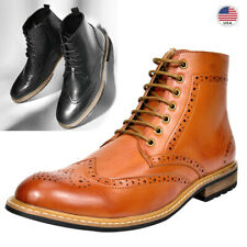 Mens Lace Up Motorcycle Leather Chukka Boots Oxford Dress Ankle Boots Shoes US