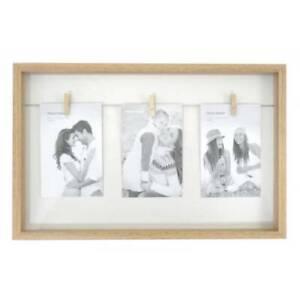 White Natural Wood Triple Peg Frame