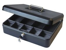 Cathedral 12 inch Large Petty Cash Box Lockable Security Money Safe Tin Black
