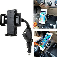 New Dual USB 2 Port Car Charger Phone Mount Stand Holder for Mobile Phone GPS