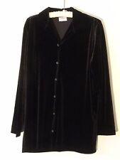 Hot Cotton Velvet Knit Top Misses XL Poly Black Stretchy MINT