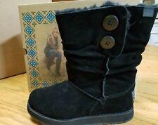 Women's Skechers Australia Black Suede Leather Boots Size 6 Faux Fur Lined