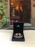 Swarovski Leopard Black White Crystal Gold Set of Bracelet & Earrings - NEW