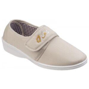 Mirak BOOST Ladies Everyday Wear Casual Comfort Cotton Touch Fasten Shoes Beige