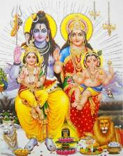 "Lord Shiva Family Hindu God POSTER with glitter 9"" X 11"" (337a)"
