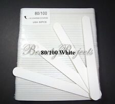 "(50pcs) Professional 80/100 Grit White Acrylic Nail Files Plastic Center 7"" bulk"