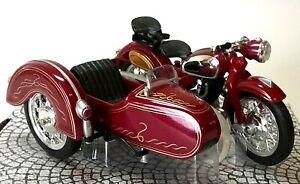 ZUNDAPP NSU & SIDECAR Burgundy - 1:18 Die-Cast & Plastic Classic Motorbike Model