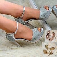 Womens Platform Stiletto Sandals Rhinestone Party Evening Heels Ankle strap Size