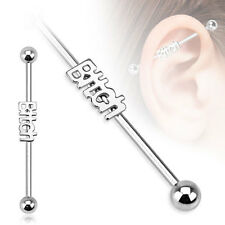New Surgical Steel Novelty Bitch Logo Industrial Scaffold Piercing Barbell Stud