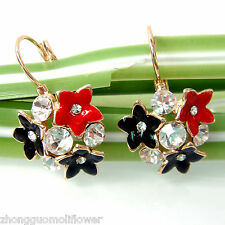 Navachi Flower Rose Red Black Enamel 18K GP Crystal Ear-Nail Earrings BH2083