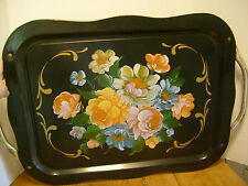 "Mid-century modern Tin Serving tray w/ handles Handpainted Floral 22 1/2""  RB-3b"