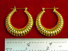 "MADE IN USA - Gold Plated ~1-1/4"" Shrimp Style Hoop Earrings  (#1115)"