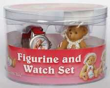 Cherished Teddies RARE SIGNED Val figurine/watch set signed by Priscilla Hillman