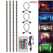 4x 50cm USB LED RGB Strip Light Lamp Kit TV Backlight 24key Remote Waterproof