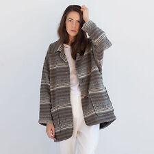 Vtg stripe pattern oversized wool coat / indie urban grunge retro jacket 424