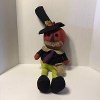 Primitive Pumpkin Doll Sitter Halloween Folk Art Country