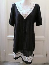 Tunica nera cotone crochet MAX&CO black embroidered tunic caftan IT44 UK12 EU40
