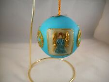 Vintage Round, Blue Wax Christmas Tree Ornament, Western Germany, Angels Gold