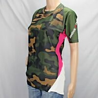 Reebok Crossfit Women's XL Athletic Shirt Green Camouflage Pink and White accent