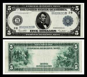 1914 $5  Large Size  Federal Reserve Note ,NEW YORK , NY ~VERY FINE