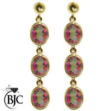 Orecchini di lusso con gemme farfalline multicolori oro gialli
