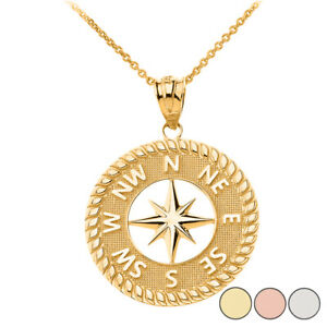 Solid Gold Or 925 Silver Navigation Compass Circle Pendant Necklace