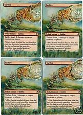 4 * Feu de Goudron Altérés - Playset of Altered Tarfire  Laura Van Wie Magic mtg