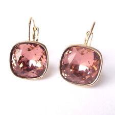 Blush Rose Gold Plated Crystal Drop Earrings w/ Cushion Cut Swarovski Rhinestone