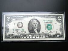 $2 1976***STAR***F ATLANTA FEDERAL RESERVE NOTE CHOICE UNC NOTE LOW#ooo77998