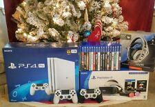 RARE PlayStation 4 Pro 1TB Glacier White PS4 Pro - VR Headset Bundle - 20 Games!