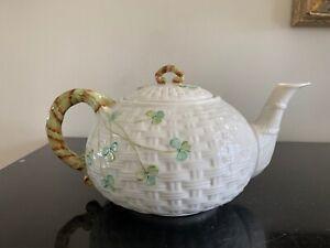 Belleek Shamrock Basket Weave Teapot