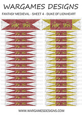 15 mm drapeaux-Fantasy Médiéval-Feuille 4-lion rampant, brouillard, DBA, Ave César